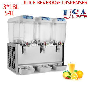Commercial 4 75 Gallon 18l 3tank Frozen Cold Drink Beverage Milk Juice Dispenser