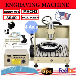 4 Axi 3040 Cnc Router Engraver Engraving Milling Drilling Machine Ballscrew 800w