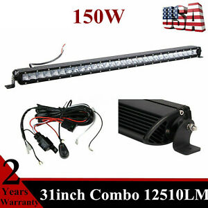 31inch 150w Single Row Cree Led Light Bar 3d Optical Offroad Rzr Wiring Kit 30