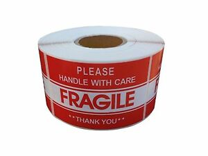 250 Fragile Stickers Size Roll 2 x3 Fragile Handle With Care dispenser Refill