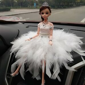 White Feather Wedding Dress Dolls Car Accessories Interior Cute Decoration Girls