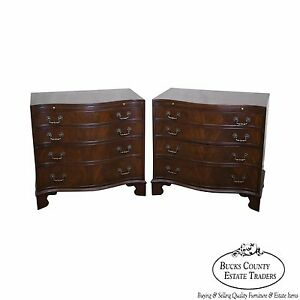 Quality Pair Of Flame Mahogany Serpentine Chippendale Style Chest Of Drawers