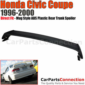 96 00 For Honda Civic 2d 2d Mug Style Abs Plastic Rear Trunk Wing Spoiler Lip