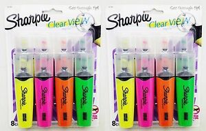 2x8 Pc Sharpie Clear View See through Tip Highlighter Yellow Pink Orange Green