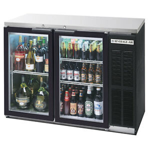Beverage air 48 Two section Glass Door Backbar Storage Cabinet Black