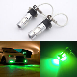 2pcs Bright Green High Power H3 Led Bulbs For Car Truck Driving Fog Lights Lamps