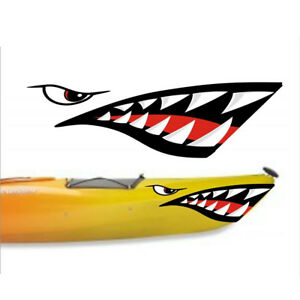 2 Shark Teeth Decals Sticker Fishing Boat Canoe Kayak Graphics Accessories
