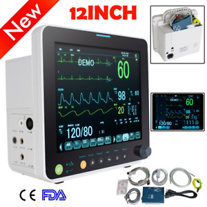 12 Patient Monitor Spo2 pr nibp ecg resp temp Storage Case 24 Hrs Monitor Usps