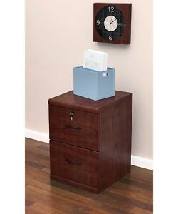 Legal Size File Cabinet Vertical 2 Drawer Wood Locking Security Office Furniture