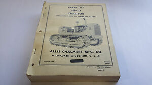 Allis chalmers Parts List Hd 21 Tractor tractors Prior To Serial No 12501