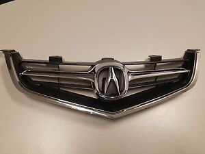 Acura Tsx 04 05 Grille Grill Whole Pc With Oem Emblem Chrome Molding 2004 2005