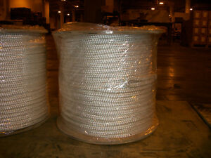 9 16 X 600 Polyester Double Braid Cable Pulling Rope W 6 Eyes On Each End