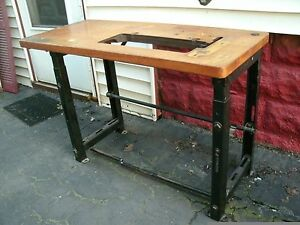 Vintage Wood Steel Industrial Sewing Machine Table pickup Only buffalo