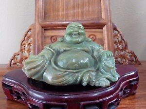 Large Chinese Green Gemstone Happy Laugh Maitreya Buddha Hand Carved Excellent