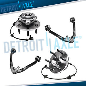 4pc Front Upper Control Arms Ball Joint 2 Wheel Bearing And Hub 6 Bolt 4x4