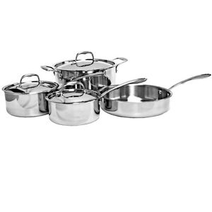 Thunder Group Slck007 7 Piece Tri ply Stainless Steel Cookware Set