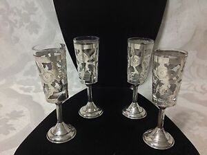 Set Of 4 Vint Sterling Silver Cut Out Cordials W Removable Glass Inserts Great