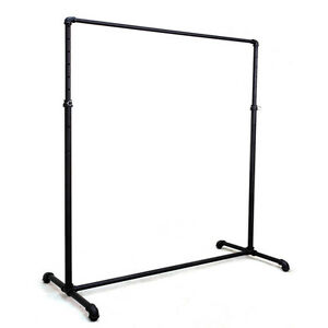 Industrial Black Pipe Line Single Bar Clothing Rack