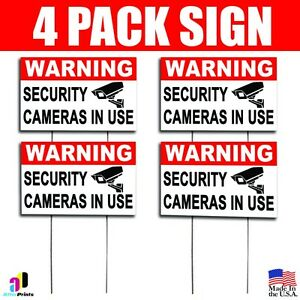 4x Warning Security Cameras In Use Coroplast Sign Plastic Indoor Outdoor H Stake