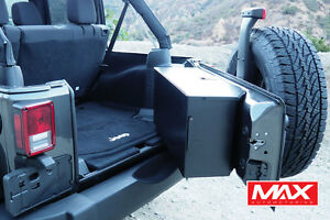 07 17 Jeep Wrangler Aluminum Tailgate Storage Box Vault No drill Gloss Black