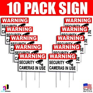 10x Warning Security Cameras In Use Coroplast Sign Plastic Indoor Outdoor Stakes
