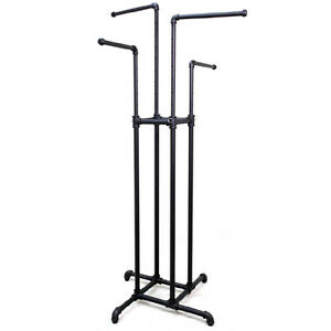 Industrial Black Pipe Line 4 Way Clothing Rack System