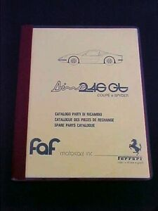Ferrari Dino 246 Spare Parts Manual Book 246gt Faf Reprint