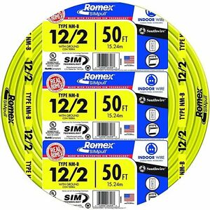 Romex 50 Ft 12 2 Soild Simpull Cu Nm b Wire Residential Solid Indoor Electrical