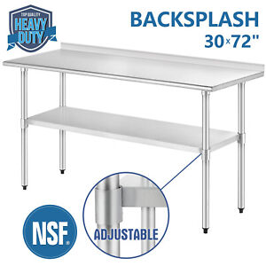 30 X 72 Work Table Stainless Steel For Kitchen Restaurant With Backsplash