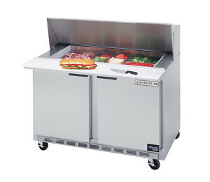 Beverage air Spe48hc 18m 13 9 Cuft Two Section Sandwich Top Refrigerated Counter