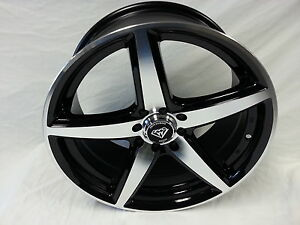 17 Inch Black Machine White Diamond 244 Wheel Rims Tires 4x100