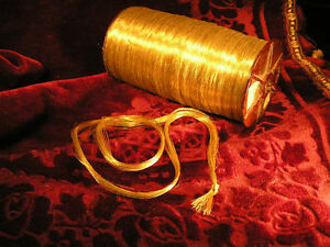 Gold Metallic Thread Embroidery Skein Antique Vtg Precious Very Fine 35 Yard