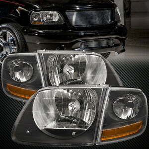 Fits 97 03 Ford F150 Expedition Lightning Svt Harley Black Headlights 4pc Set