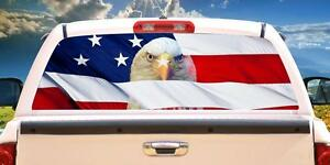 American Flag With Eagle Wrap Rear Window Graphics Decal Sticker 66 X 22