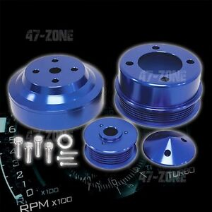 Billet Aluminum 1979 93 Ford Mustang 5 0 Serpentine Pulley Set Blue