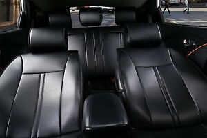 Non Slip Leather Car Seat Covers W Cushion Compatible To Nissan 2099 Black