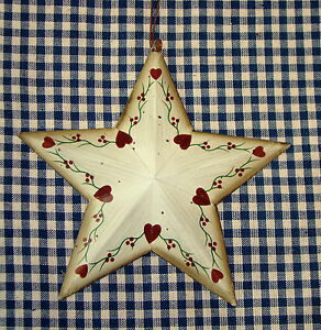 Rustic Tin 5 1 4 Mini Barn Star Painted Floral Hearts Country Home Decor