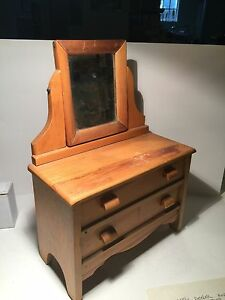 Vintage Salesman S Model Sample Of A Wooden Dresser With Mirror
