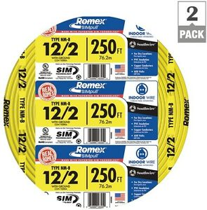 Romex 250 Ft 12 2 2 pack Yellow Cu Simpull Nm b Wire Electrical Residential