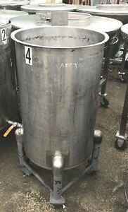 Used 55 Gallon Stainless Steel Tank 1 Outlet Portable Mounted On Wheels 5
