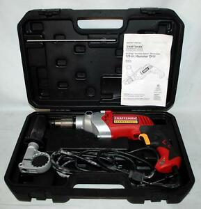 Craftsman 8 0 Amp Variable Speed Reversible 1 2 Hammer Drill W Case 28129 Tb