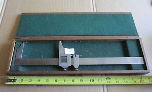 Starrett 12 Sliding Caliper 025 Vernier In Wooden Box