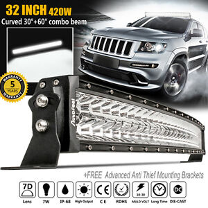 32 Inch 420w Curved Led Light Bar Combo Flood Spot Offroad For Ford Pk 180w 30
