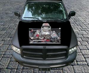Powerful Blown Engine Awesome Vinyl Graphic Decal Hood Wrap For Truck Or Car