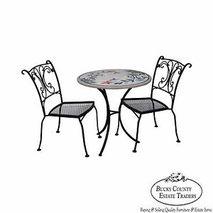 Quality Wrought Iron 3 Piece Bistro Set W Round Mosaic Tile Concrete Top