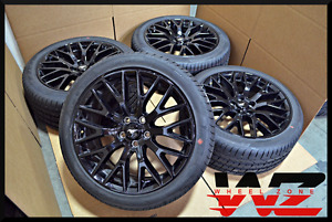 Set Of Four 2015 2016 19 Ford Mustang Gt Gloss Black Wheels Tires Factory Oem