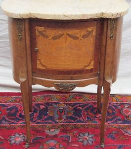 French Louis Xv Style Marble Top Antique Nightstand End Table