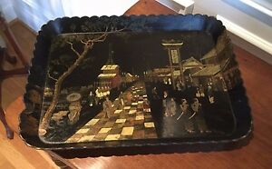 Antique Japanese Black Lacquer Paper Mache Tray