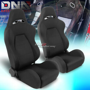 Full Reclinable Black Stitching Woven Cloth Bucket Racing Seat Driver passenger