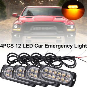 4pcs Amber Recovery Strobe Led Lights 12v 24v Orange Grill Breakdown Flashing